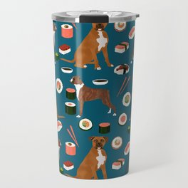 Boxer dog pattern sushi dog lover pet portraits boxers dog breed by pet friendly Travel Mug