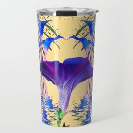 CONTEMPORARY PURPLE-BLUE FLOWERS ON CREAM Travel Mug