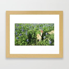 Lone Texas Grave, surrounded by Blue Bonnets Framed Art Print