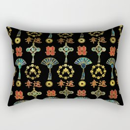 Colorful Lucky Chinese Symbols  Pattern Rectangular Pillow