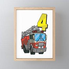 Sound The Alarm I´m 4 Birthday Gift For Boys Girl And Kids Framed Mini Art Print