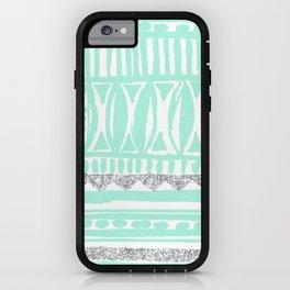 mint tribal & glitter iPhone Case
