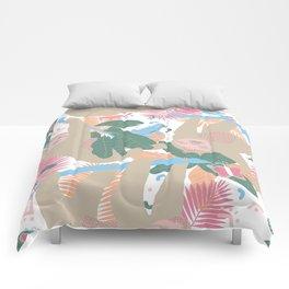 Swingin' Sloths in Pink + White Comforters
