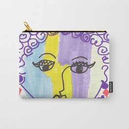 Crazy Face Purple Curls Carry-All Pouch