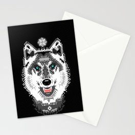 Silver Wolf Geometric Stationery Cards