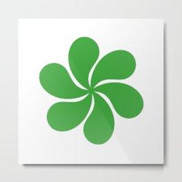 Green Paisley Floral Pattern Metal Print
