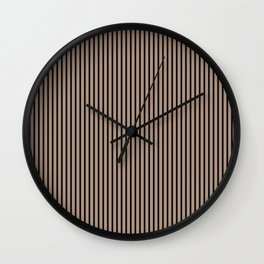 Warm Taupe and Black Stripes Wall Clock