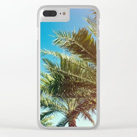 Vintage Palm tree vibes Clear iPhone Case