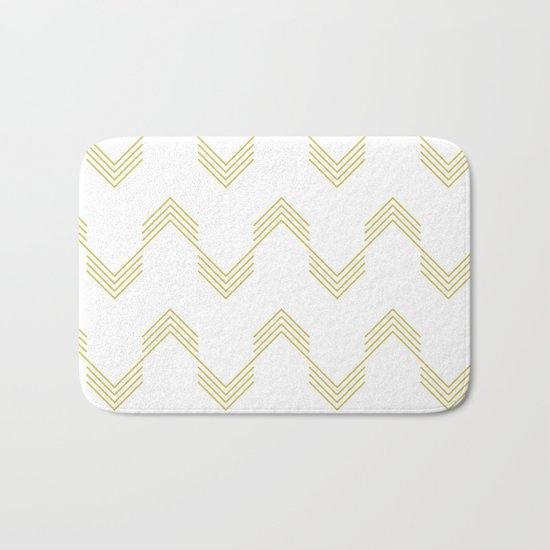 Simply Deconstructed Chevron Mod Yellow on White Bath Mat