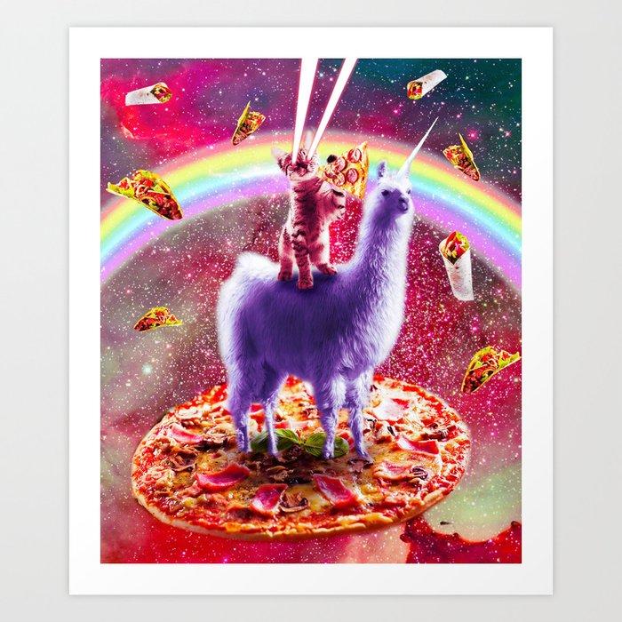 Laser Eyes Outer Space Cat Riding On Llama Unicorn Art Print