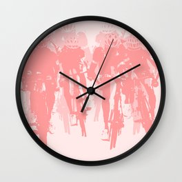 Cyclists in the sprint pink Wall Clock