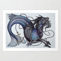 capricorn Art Prints featuring Capricorn by Caitlin Hackett