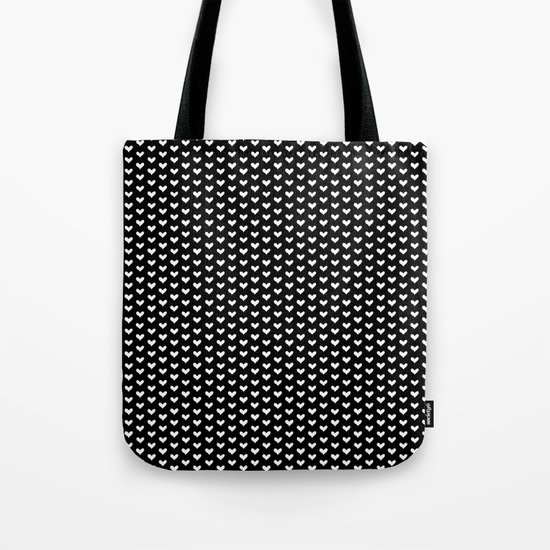 White Hearts on Black Tote Bag