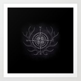 Compass and Antlers in Chalk Art Print