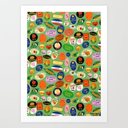 Fruit Stickers Pattern Art Print
