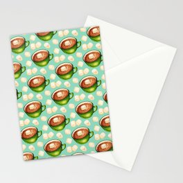 Hot Cocoa Pattern - Teal Stationery Cards