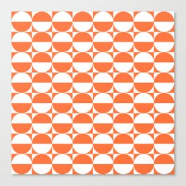 Mid Century Modern Half Circles Pattern Orange Canvas Print