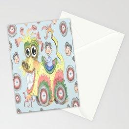 dragon car mobile fantasy w/ little boy, light blue aqua yellow green Stationery Cards