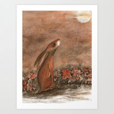 Hare and Moon Art Print