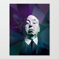 hitchcock Canvas Prints featuring HITCHCOCK by mobokeh