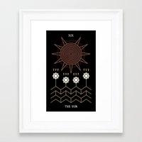 tarot Framed Art Prints featuring Tarot: Sun by Merlin