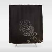 colombia Shower Curtains featuring Black and White Alpinia purpurata – Red Ginger Flower, Bogota, Colombia  by ANoelleJay