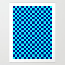 Cyan and Navy Blue Checkerboard Art Print