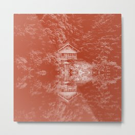 boathouse rust tone washed out effect aesthetic landscape art photography Metal Print
