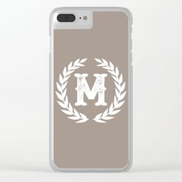 Beige Monogram: Letter M Clear iPhone Case