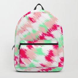 Modern boho neon pink turquoise tie dye summer pattern Backpack