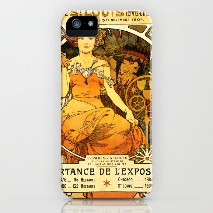 """Alphonse Mucha """"World's Fair, St. Louis, Missouri"""", 1904 iPhone Case"""
