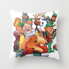 Santa checking his list with elves Throw Pillow