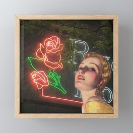 Red Neon Rose Framed Mini Art Print