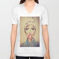 bubblegum V-neck T-shirts featuring Bubblegum by Charlotte Chisnall