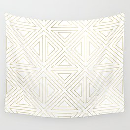 Angled White Gold Wall Tapestry