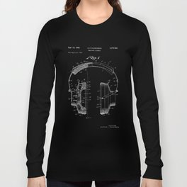 Headphones Patent - White on Black Long Sleeve T-shirt