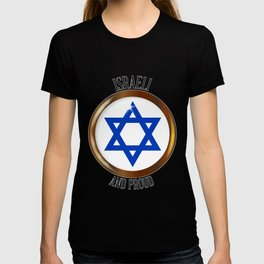 Israel And Proud Button T-shirt