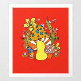 Retro Mushroom Art Print