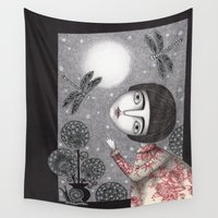 night sky Wall Tapestries featuring Night Sky. Dragonfly. by Judith Clay