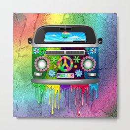 Hippie Bus Van Dripping Rainbow Paint Metal Print
