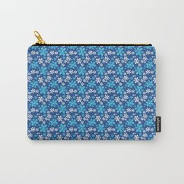Blue Flowers Floral Pattern Carry-All Pouch
