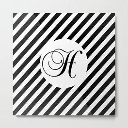 Custom Monogram Black White Stripes Digital Design Pattern  Metal Print