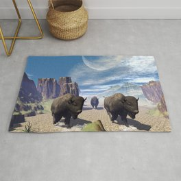 Awesome running bisons Rug