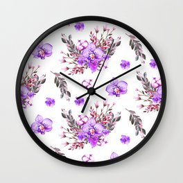 Lavender purple pink watercolor modern floral pattern Wall Clock