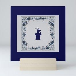Delft blue tile windmill Mini Art Print