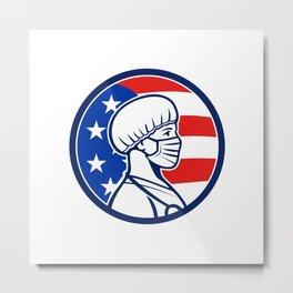 American Nurse Wearing Mask Side USA Flag Mascot Metal Print