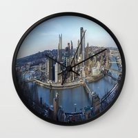 pittsburgh Wall Clocks featuring PITTSBURGH CITY by Stephanie Bosworth