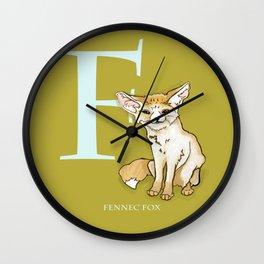 F is for Fennec Fox: Under Appreciated Animals™, ABC nursery kids room decor lime unusual animals Wall Clock