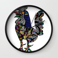 pablo picasso Wall Clocks featuring Pablo Picasso - The Cock by T.Grimm