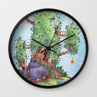 finn and jake Wall Clocks featuring Ode to Finn and Jake by Taylor Rose